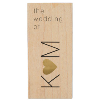 Clé USB nos photos de mariage, initiales de couples