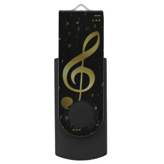 Clé USB notes de musique d'or