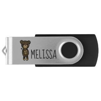 Clé USB Ours de Brown mignon tenant une fleur jaune