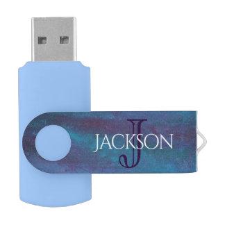 Clé USB Pastel turquoise pourpre bleu de monogramme
