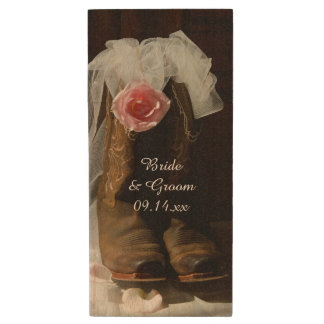 Clé USB Pays rose rose et mariage occidental de bottes de