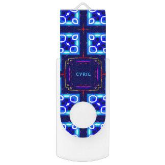 Clé USB ~ ~Personalised par motif bleu abstrait de Fluoro