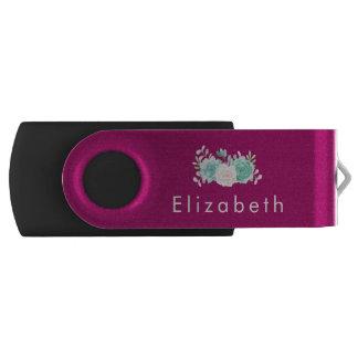Clé USB Rose en pastel et bouquet floral vert sur le dos