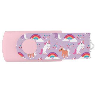Clé USB Rose pourpre d'arc-en-ciel mignon de licorne