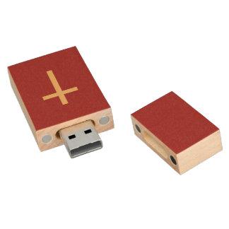 Clé USB Rouge d'or croisé chrétien de base de jaune de