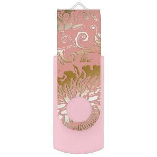Clé USB Style de relief par or rose floral