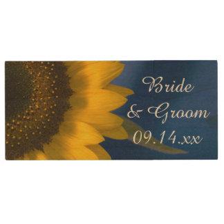 Clé USB Tournesol jaune sur la faveur bleue de mariage