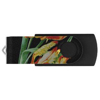 Clé USB Tulipes de perroquet sur le dessin noir