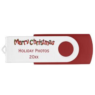 """Clé USB Typographie de tartan de """"Joyeux Noël"""" -"""