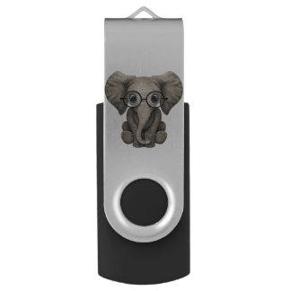 Clé USB Verres de port d'éléphant ringard de bébé