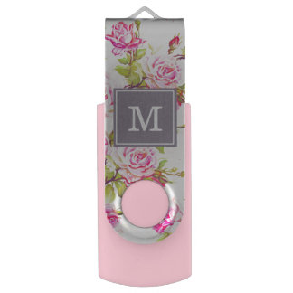 Clé USB Vieux monogramme USB de roses de motif floral fait