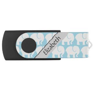 Clé USB Votre nom - troupe d'éléphants - bleu gris