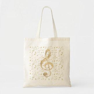 clef triple de musique d'or sac