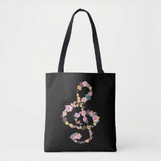 clef triple de musique florale romantique sur le tote bag