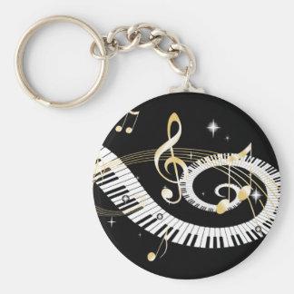 Clés de piano et notes d'or de musique porte-clé rond