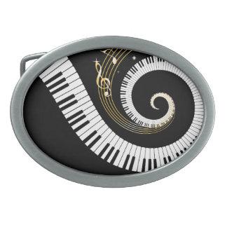 Clés de piano et notes personnalisées de musique d boucles de ceinture ovales