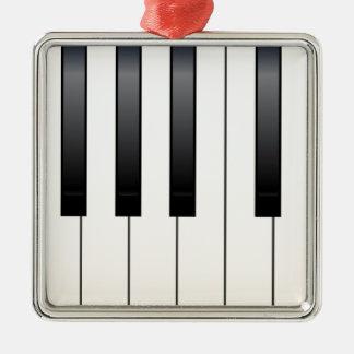 Clés de piano ornement carré argenté