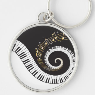 Clés de tourbillonnement de piano porte-clé rond argenté