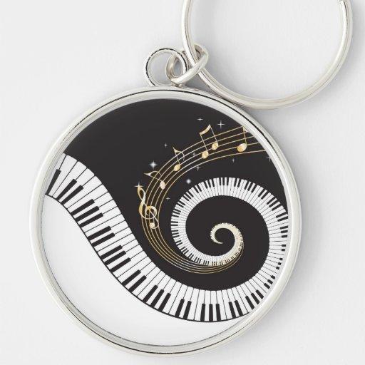 Clés de tourbillonnement de piano porte-clés