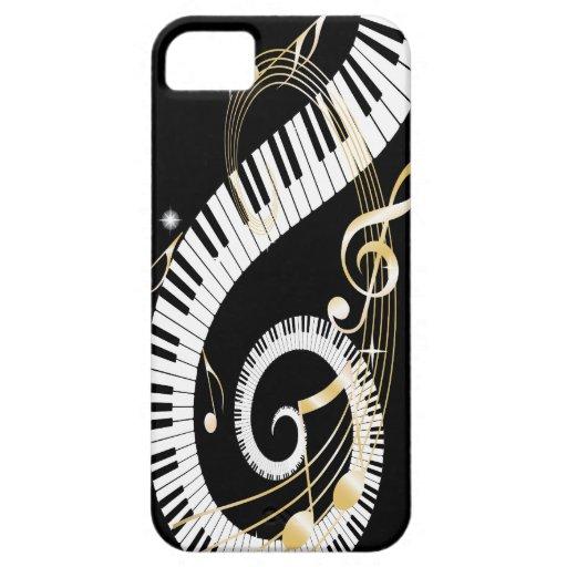 Clés et notes d'or iphone5 de piano de musique coques iPhone 5 Case-Mate