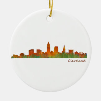 Cleveland Ohio UTILISE Skyline ville v01 Ornement Rond En Céramique