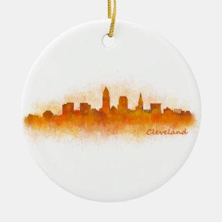 Cleveland ville US skyline watercolor v3 Ornement Rond En Céramique