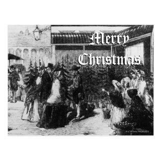 Clients choisissant des arbres de Noël, décembre Carte Postale