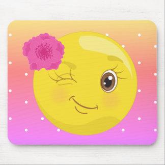 Clin d'oeil Flirty Emoji Polkadot Mousepad de Tapis De Souris