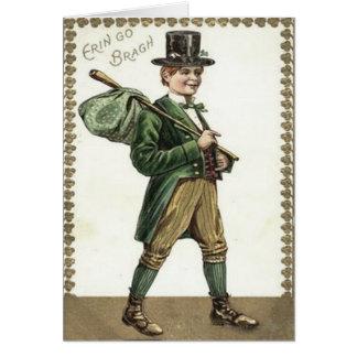 Clochard Bindle de shamrock de lutin Carte De Vœux