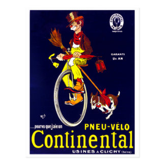 Clochard et chien sur la bicyclette carte postale