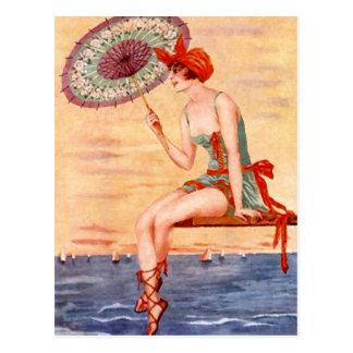 Cloche de parapluie de bain de carte postale de