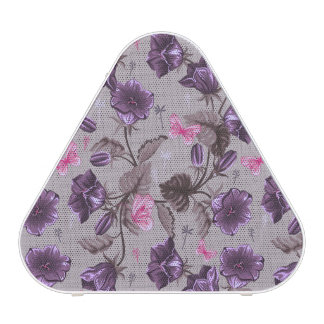 cloches de main violettes et motif de papillons haut-parleur bluetooth