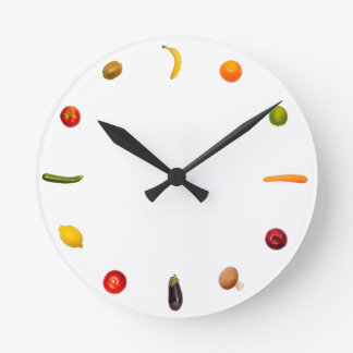 Clock with vegetables and fruits horloge ronde