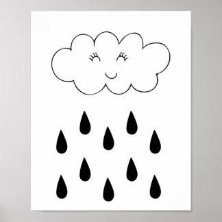 Cloud & raindrops affiche nursery children's room poster
