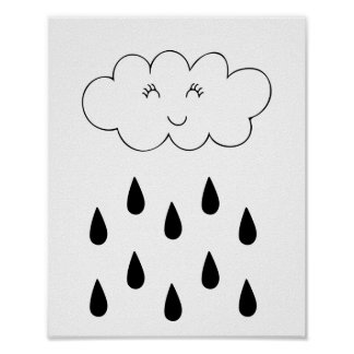 Cloud & raindrops affiche nursery children's room posters