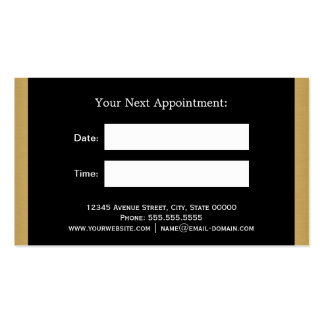 CLOUEZ le rendez-vous noir de rayures d'or de Carte De Visite Standard