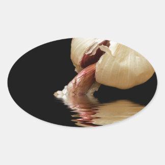 Clous de girofle d'ail d'ail sticker ovale