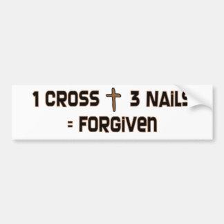 Clous d'une croix trois indulgents autocollant de voiture