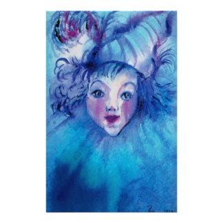 CLOWN DANS les visages vénitiens BLEUS de carnaval Papier À Lettre Customisable