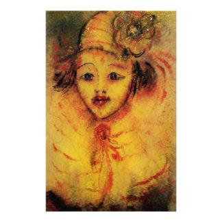 CLOWN DANS visages JAUNES/vénitiens de carnaval Motifs Pour Papier À Lettre