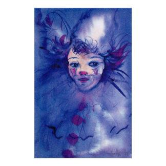 CLOWN DANS visages POURPRES/vénitiens de carnaval Papeterie