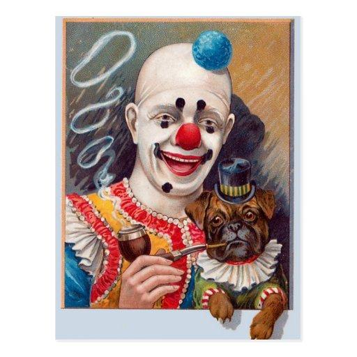 Clown de cirque vintage avec son chien de carlin d carte postale
