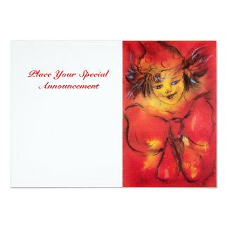 CLOWN EN ROUGE, blanc jaune Carton D'invitation 12,7 Cm X 17,78 Cm