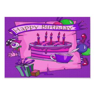 Clown idiot de gâteau de joyeux anniversaire carton d'invitation  12,7 cm x 17,78 cm