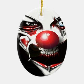 Clown mauvais ornement ovale en céramique