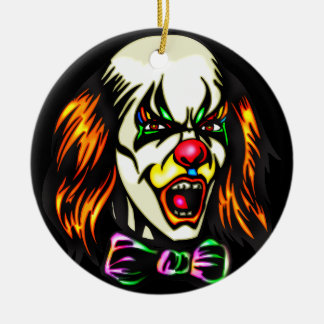 Clown mauvais regardant fixement ornement rond en céramique