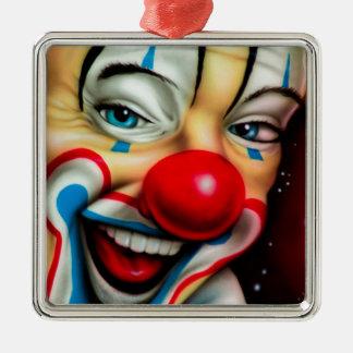 Clown Ornement Carré Argenté