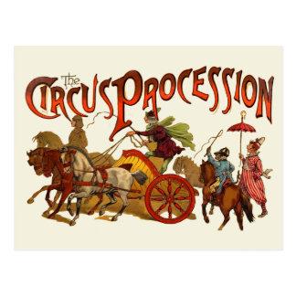 Clowns vintages et chevaux de cortège de cirque carte postale