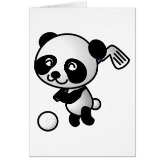 Club de golf de oscillation d'ours panda heureux carte de vœux