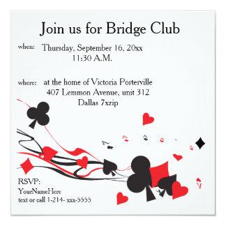 Club de pont carton d'invitation  13,33 cm